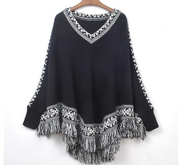 Ladies Knitted Poncho Cape Shawl Wrap With Tassels Ponchos
